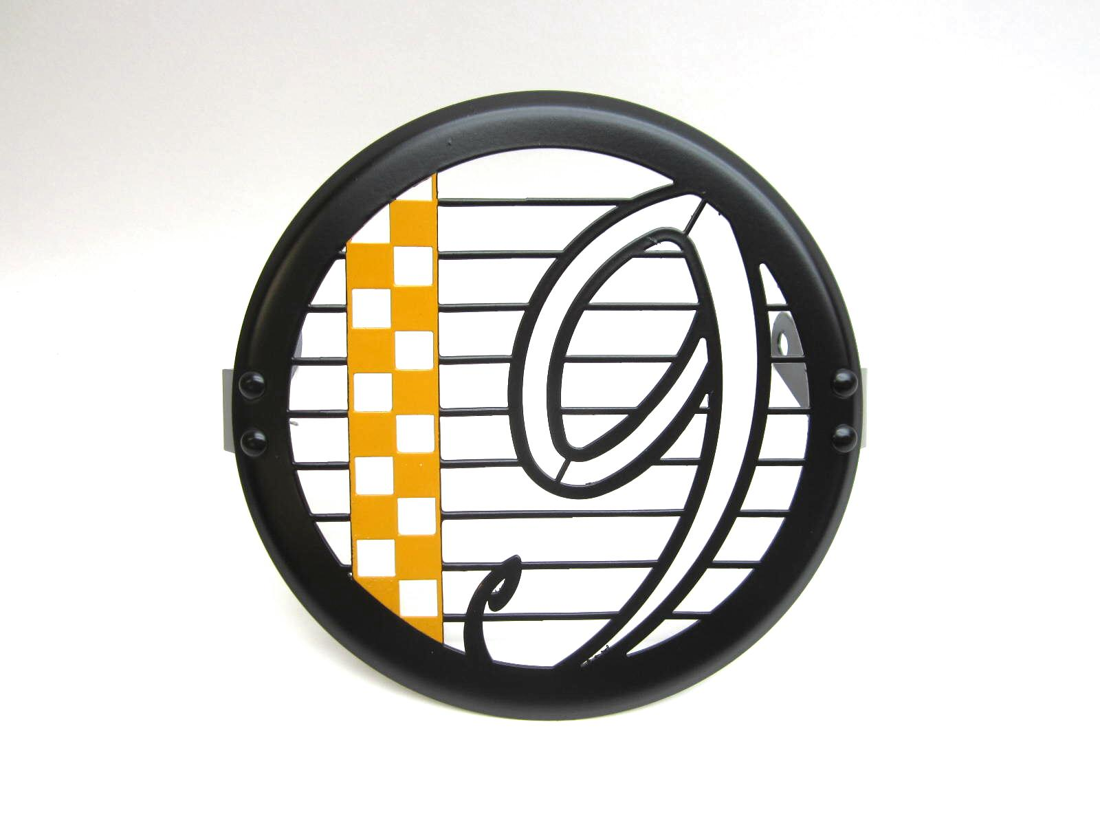 Headlight guard, black and orange V9 Bobber, Roamer checkerboard