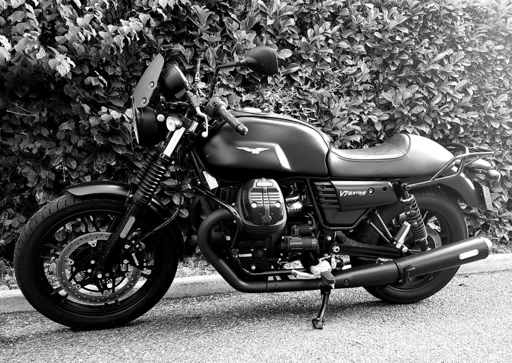 Mistral full-length black slip-on mufflers for V7III